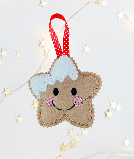 Christmas Kawaii Gingerbread Star Decoration