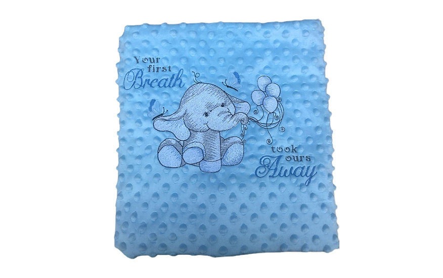 Blue Elephant Blue Sensory Baby Blanket- your 1st breath took ours away