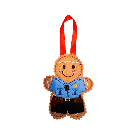 American Police Officer Gingerbread Decoration