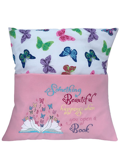Pink Butterfly Book Cushion