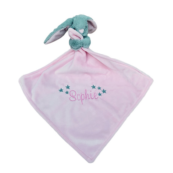 Pink Bunny Rabbit Comforter / Personalised Keepsake / Newborn Baby Gift