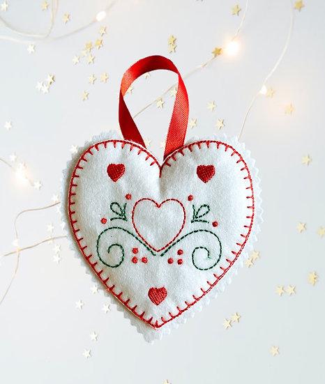 Swirl Felt Heart Christmas Decoration