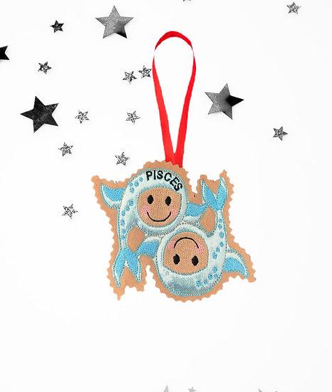 Pisces Starsign Gingerbread Decoration