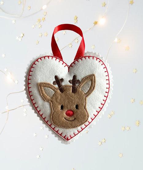 Reinder Felt Heart Christmas Decoration