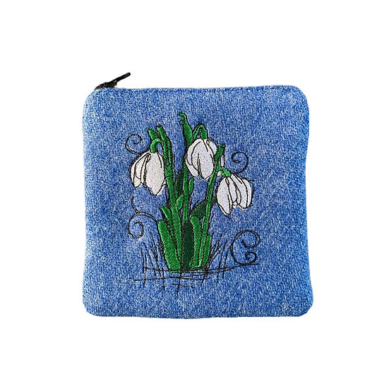 Harris Tweed Blue Embroidered Snowdrops Purse