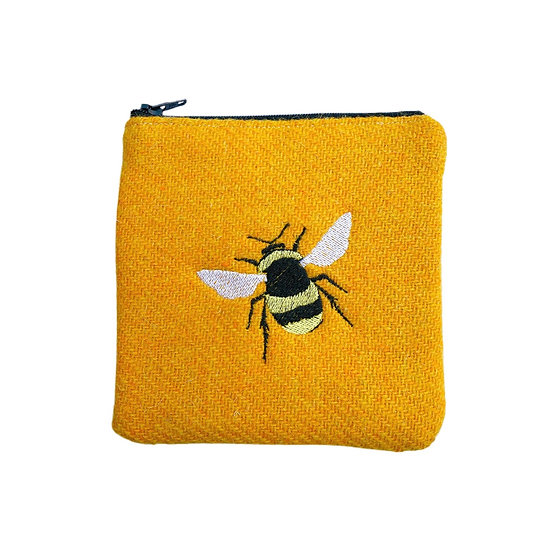Harris Tweed Yellow Embroidered Bee Purse