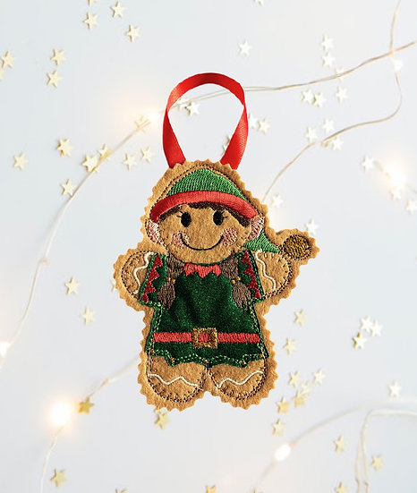 Christmas Gingerbread Girl Elf Decoration
