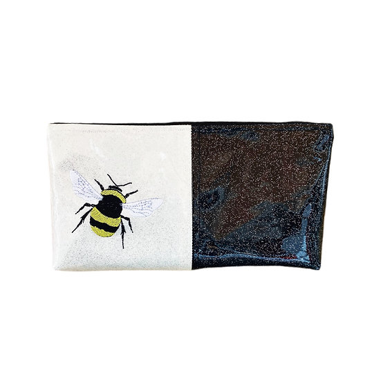 Black & White Vinyl Zipper Bee Clutch Purse