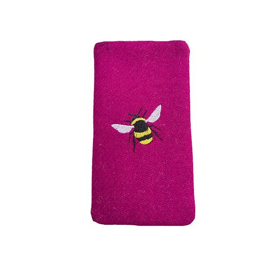 Harris Tweed Magenta embroider Bee Glasses Case