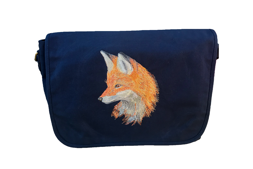Fox Navy Blue Cotton Canvas Messenger Bag