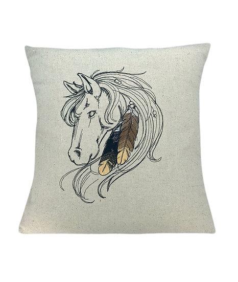 Native American Horse Linen Cushion