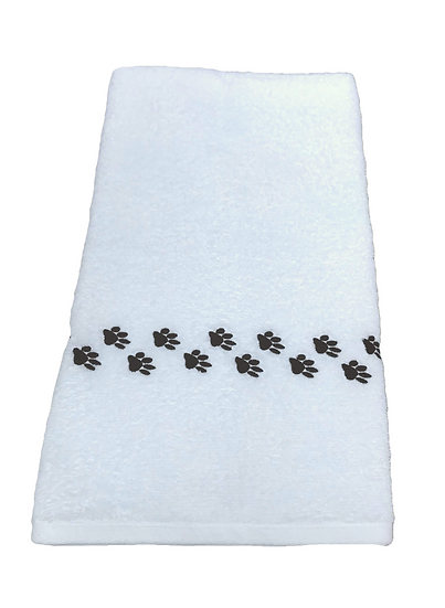Pair of paw print embroidered white hand towels