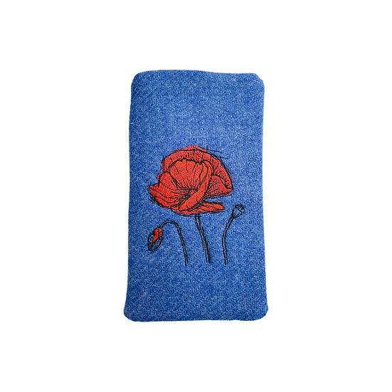 Harris Tweed Blue Embroidered Poppy Glasses Case