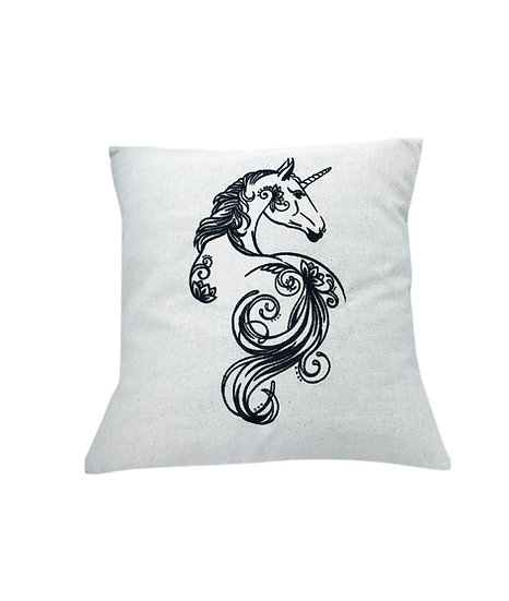 Unicorn Floral Silhouette Linen Cushion