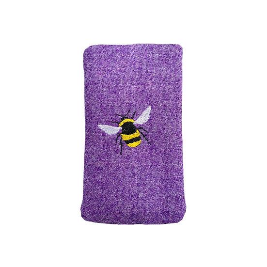 Harris Tweed Purple Bee Glasses Case
