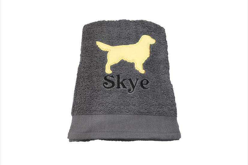 Personalised Golden Retriever- Charcoal Grey Bath Towel