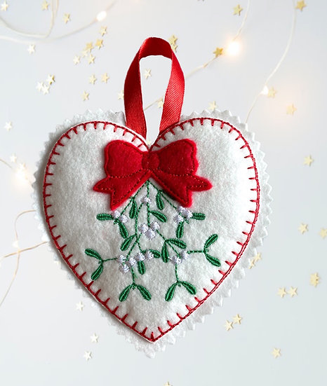 Mistletoe Felt Heart Christmas Decoration
