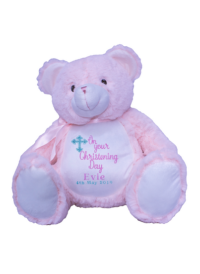 Pink Baby Bear Personalised Christening / Baptism / Holy Communion Soft Toy