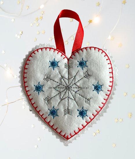Snowflake Felt Heart Christmas Decoration