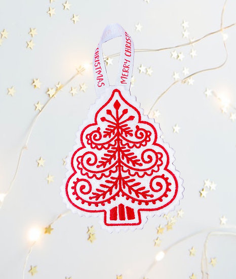 Red & White Christmas Tree Decoration