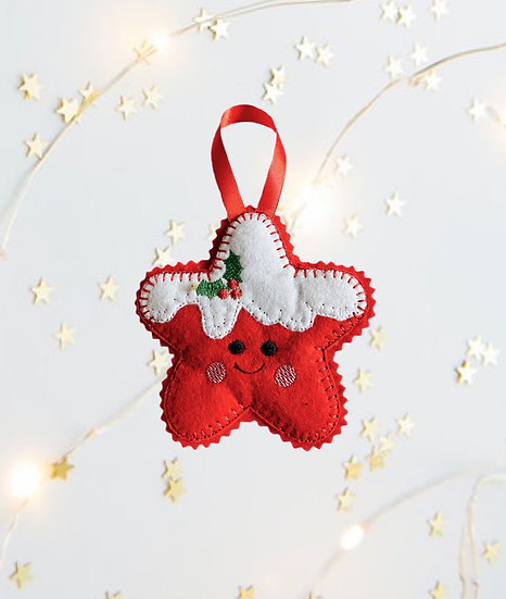 Christmas Kawaii Gingerbread Star Red Decoration