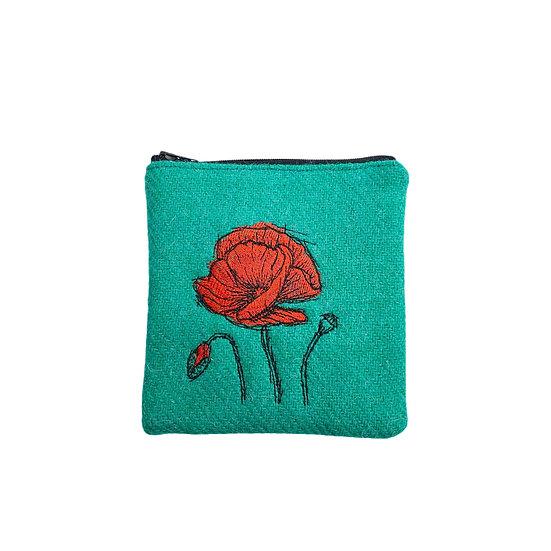 Harris Tweed Jade Green Embroidered Poppy Purse
