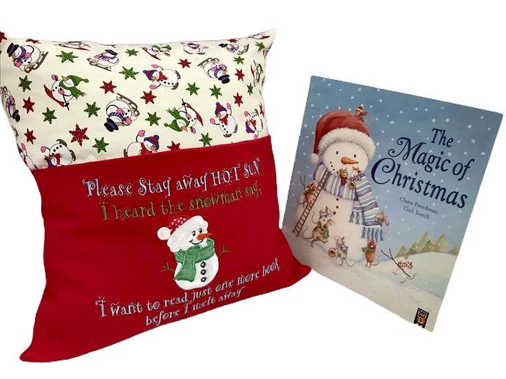 Snowman Christmas Themed Book Cushion