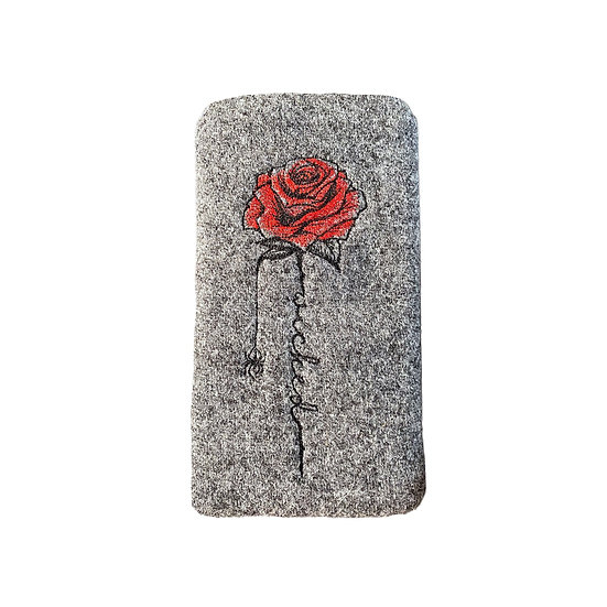 Harris Tweed Grey Embroidered Wicked Rose Glasses Case
