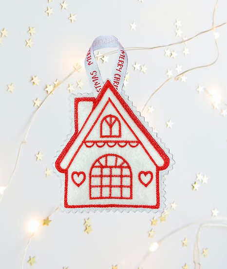 Red & White Cottage Christmas Tree Decoration