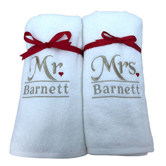 Pair of Personalised Wedding Bath Towels