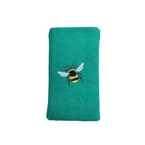 Harris Tweed Jade Green Bee Glasses Case