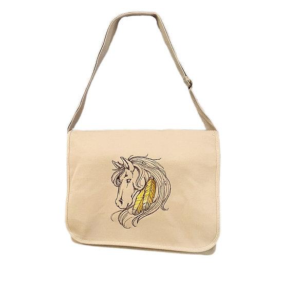 Horse Cotton Canvas Messenger Bag
