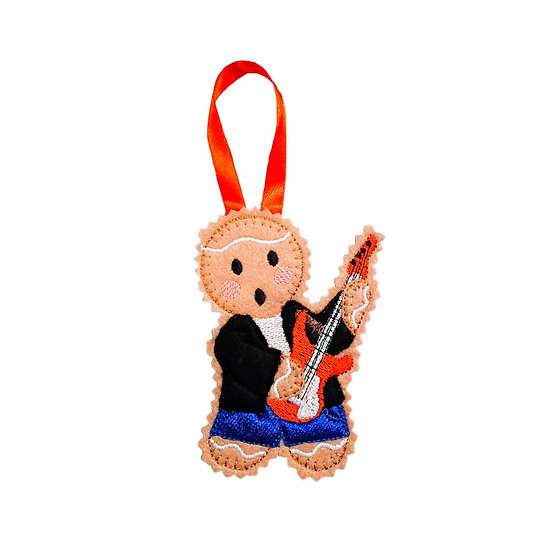Gingerbread Electric Guitar Player Decoration