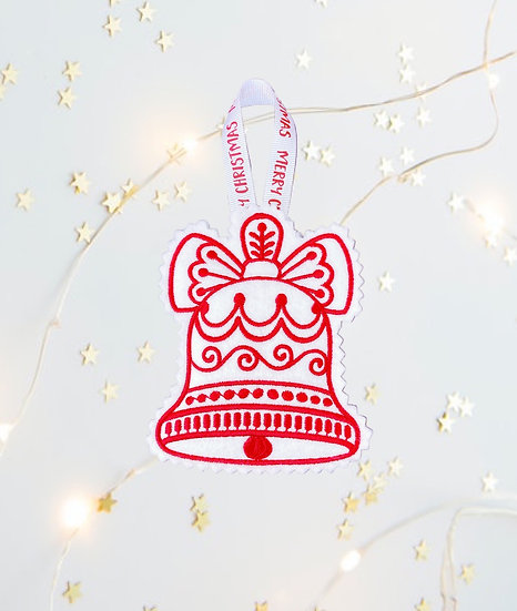 Red & White Christmas Bell Tree Decoration