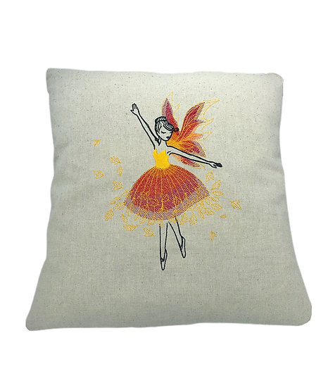 Autumn Fairy Linen Cushion
