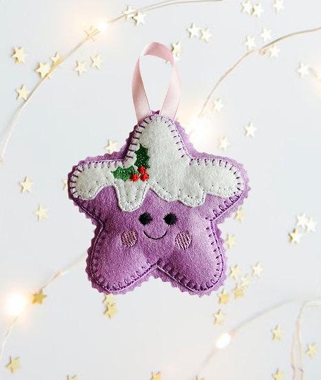 Christmas Kawaii Gingerbread Star Purple Decoration