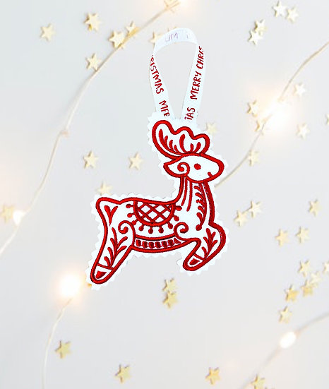 Red & White Reindeer Christmas Tree  Decoration