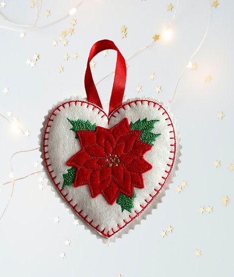 Poinsettia Felt Heart Christmas Decoration