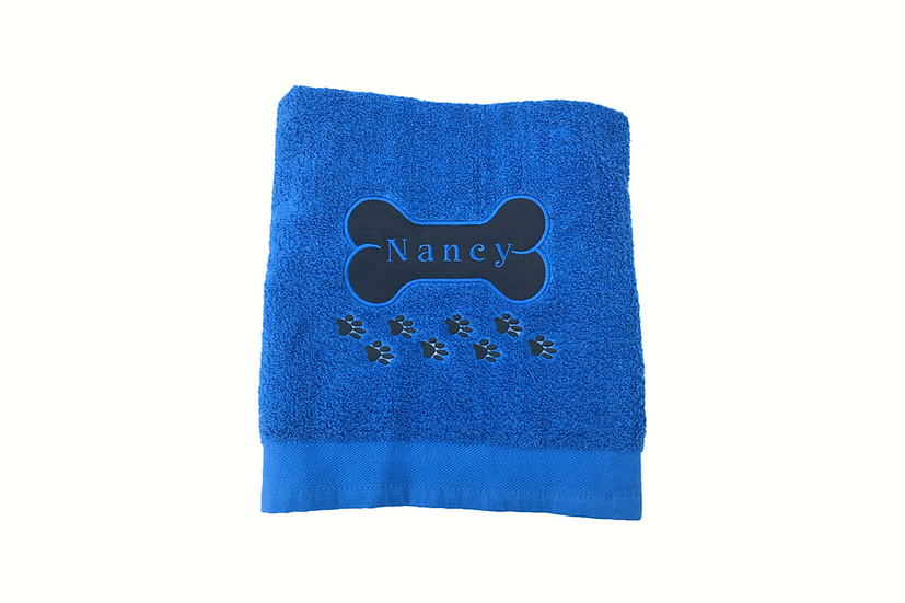 Personalised Pet Bath Towel (bone & paw-prints)