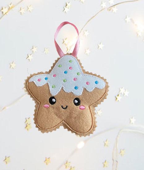 Christmas Kawaii Gingerbread Star Decoration