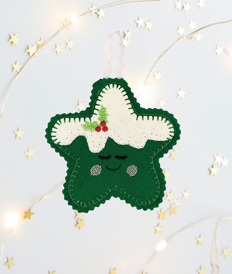 Christmas Kawaii Gingerbread Star Green Decoration