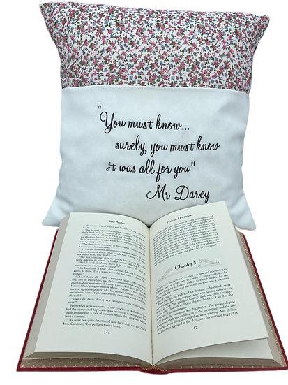 Mr Darcy Pride & Prejudice Themed Book Cushion