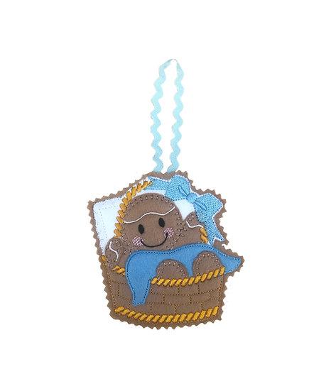 Baby Boy Basket Gingerbread Decoration
