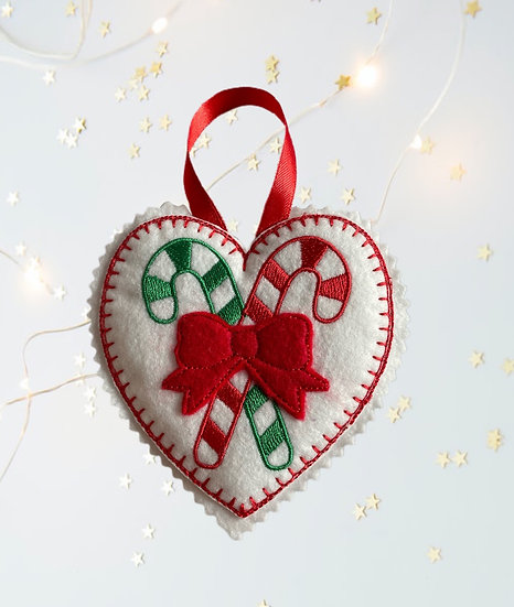 Candy Canes Felt Heart Christmas Decoration