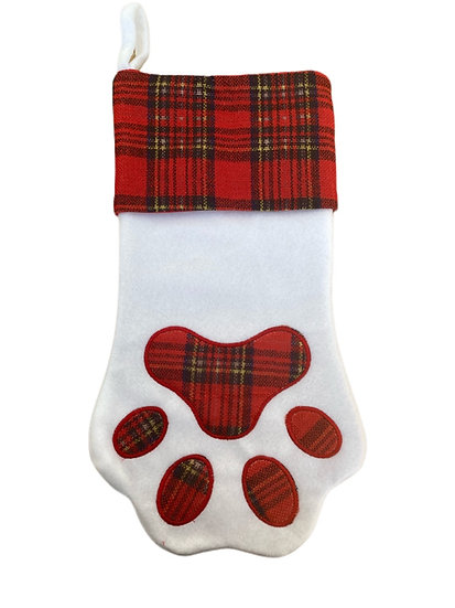 Pet Paw Print Dog / Cat Personalised Christmas Stocking