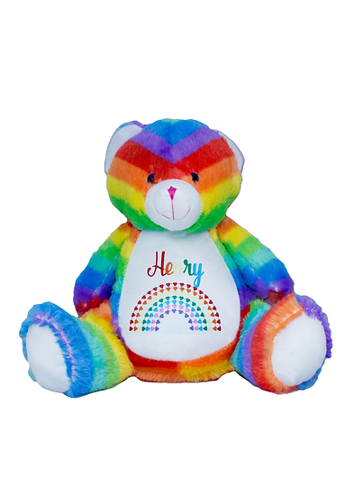 Rainbow Bear Personalised Soft Toy / Rainbow Baby Gift