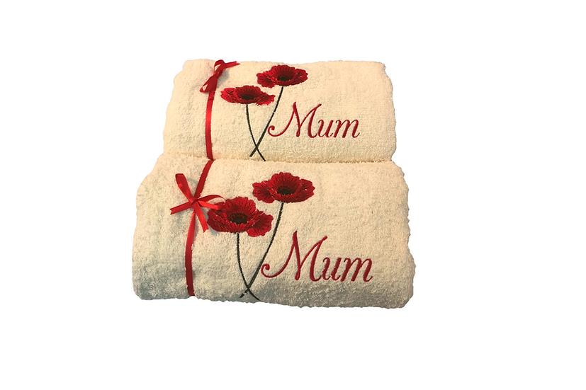 Poppy Towel, Personalised gift, Mum, Gift for her, Gift for mum, Red Poppy, Popp