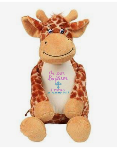 Giraffe Personalised Christening / Baptism Soft Toy