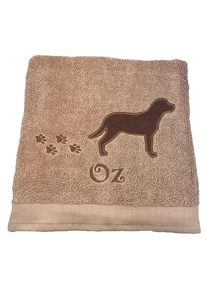 Chocolate Labrador Personalised Towel