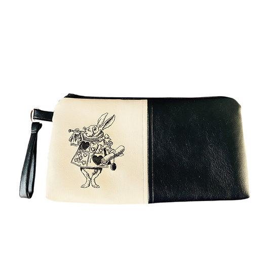 Black & Cream Leatherette White Rabbit Harlequin Zipper Purse
